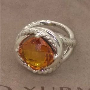David Yurman Infinity Sterling Silver Citrine Ring